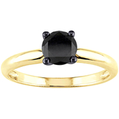 Diamore 1 CTW Black Diamond Solitaire Ring in 14k Yellow Gold