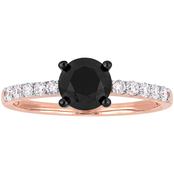 Diamore 1 1/4 CTW Black and White Diamond Engagement Ring in 14k Rose Gold