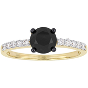 Diamore 1 1/4 CTW Black and White Diamond Engagement Ring in 14k Yellow Gold