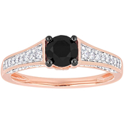 Diamore 1 CTW Black and White Diamond Engagement Ring in 14k Rose Gold