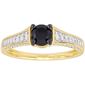 Diamore 1 CTW Black and White Diamond Engagement Ring in 14k Yellow Gold