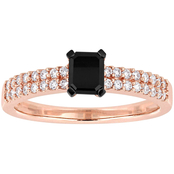 Diamore 3/4 CTW B&W Diamond Emerald-Cut Two-Row Engagement Ring in 14k Rose Gold