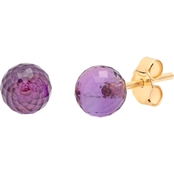 14K Yellow Gold Briolette Cut Amethyst Stud Earrings