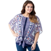 AGB Plus Size Printed Popover Blouse