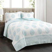 Lush Teardrop Leaf 3 Pc. Quilt Set