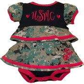 Trooper Clothing Infant Girls Marine Ruffle Bodysuit Dress