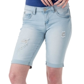 YMI Jeans Juniors' WannaBettaButt Cuffed Bermuda Shorts with Raw Hem
