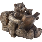 Smart Solar Reading Bear Family Solar Statue
