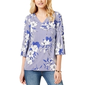 Charter Club Printed Bell Sleeve Top