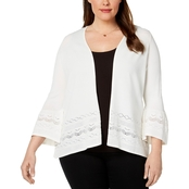 Charter Club Plus Size Ruffle Sleeve Cardigan
