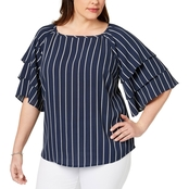 Charter Club Plus Size Striped Tiered Sleeve Blouse
