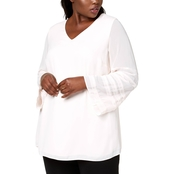Alfani Plus Size Illusion Sleeve Top