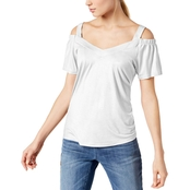 INC International Concepts Petite Cold Shoulder Jersey Top