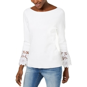 INC International Concepts Lace Cuff Bell Sleeve Sweater