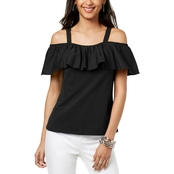 INC International Concepts Petite Ruffled Off The Shoulder Top