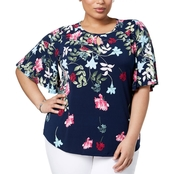 Charter Club Plus Size Floral Print Keyhole Top