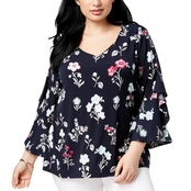 Charter Club Plus Size Ruffled Bell Sleeve Blouse