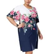 Charter Club Plus Size Flutter Sleeve Print Dress