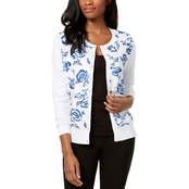 Charter Club Printed Lace Cardigan