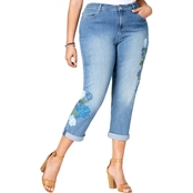 Style & Co. Plus Size Stenciled Boyfriend Jeans