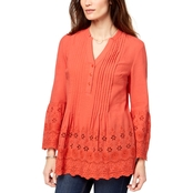 Style & Co. Petite Cotton Eyelet Split Neck Top