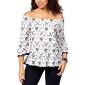 Style & Co. Petite Cotton Pom Pom Trim Top