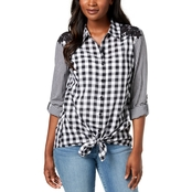 Style & Co. Petite Mixed Gingham Tie Front Shirt
