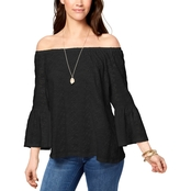 Style & Co. Petite Off The Shoulder Cotton Eyelet Top