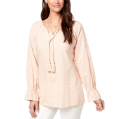 Style & Co. Petite Tasseled Embroidered Top