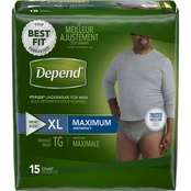 Depend FIT-FLEX Incontinence Underwear for Men, Maximum Absorbency, XL, 15 ct.