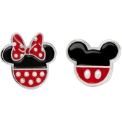 Disney Sterling Silver Enamel Mickey and Minnie Studs