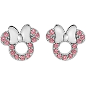 Disney Sterling Silver Pink Cubic Zirconia Minnie Studs