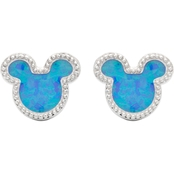 Disney Sterling Silver Synthetic Blue Opal Mickey Studs