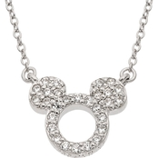 Disney Sterling Silver Cubic Zirconia Mickey Mouse 15 in. Necklace
