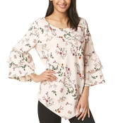 Alfani Petite Printed Tiered Sleeve Top