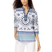Charter Club Petite Cotton Printed Tunic