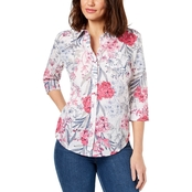 Karen Scott Cotton Floral Print Shirt