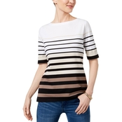 Karen Scott Striped Elbow Sleeve Top