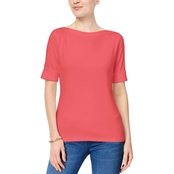 Karen Scott Cuffed Boat Neck Top