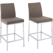 CorLiving Huntington Fabric Counter Stool with Chrome Legs 2 pk.
