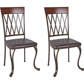 CorLiving Jericho Metal Dining Chair with Dark Brown Bonded Leather Seats 2 pk.