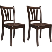 CorLiving Dillon Solid Wood Dining Chairs with Curved Vertical Slat Backrest 2 pk.
