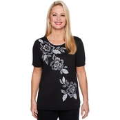 Alfred Dunner Asymmetric Floral Embroidery Top