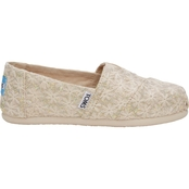 TOMS Girls Natural Daisy Metallic Slip On Shoes