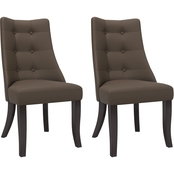 CorLiving Antonio Button Tufted Dining Accent Chairs 2 pk.