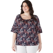 Michael Kors Plus Size Scattered Blooms Peasant Top