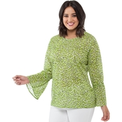 Michael Kors Plus Size Collage Ruffle Sleeve Top