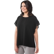 Michael Kors Plus Size Scallop Edge Sleeves Top