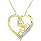 10K Yellow Gold White Diamond Accent Fashion Heart Pendant 18 In.