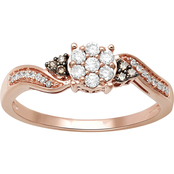 10K Rose Gold 1/4 CTW White & Champagne Diamond Fashion Ring Size 7